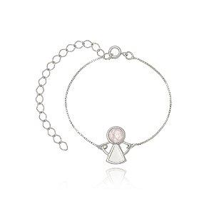 Pulseira Infantil Angel Quartzo Rosa Di Capri Semi Jóias X Ouro Branco