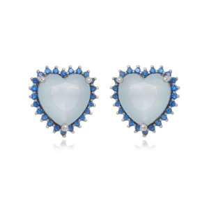 Brinco Blue Heart Di Capri Semi Jóias X Ouro Branco