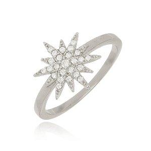 Anel Estrela Cravejada Cristal Di Capri Semi Jóias X Ouro Branco