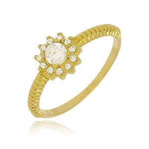 Anel Florzinha de Cristal Di Capri Semi Jóias X Ouro
