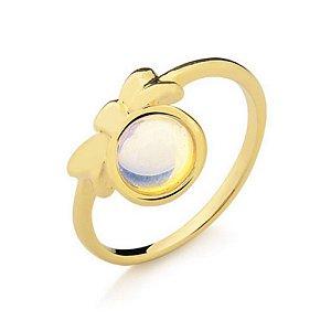 Anel Infantil Lacinho Opalina Pedra Natural Di Capri Semi Jóias X Ouro