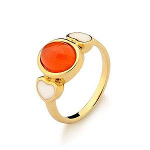 Anel Infantil Love com Agata Vermelha Pedra Natural Di Capri Semi Jóias X Ouro