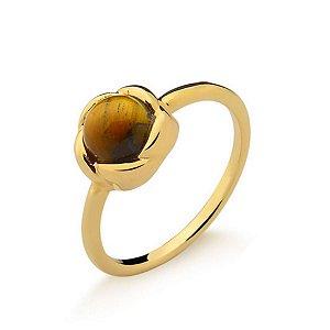 Anel Infantil Rosinha Olho de Tigre Pedra Natural Di Capri Semi Jóias X Ouro