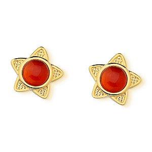 Brinco Infantil Estrela Agata Vermelha Pedra Natural Di Capri Semi Jóias X Ouro
