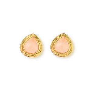 Brinco Infantil Gota Quartzo Rosa Pedra Natural Di Capri Semi Jóias X Ouro