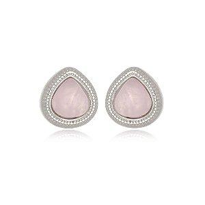 Brinco Infantil Gota Quartzo Rosa Pedra Natural Di Capri Semi Jóias X Ouro Branco