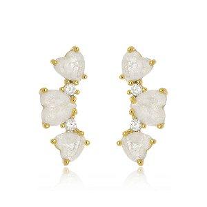 Brinco Ear Cuff Cristal Fusion Corações Di Capri Semi Jóias X Ouro