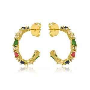 Brinco Argola Com Gotas Multi Color Di Capri Semi Jóias X Ouro
