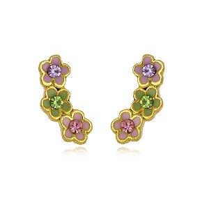 Brinco Ear Cuff Infantil de Florzinhas Coloridas Di Capri Semi Jóias X Ouro