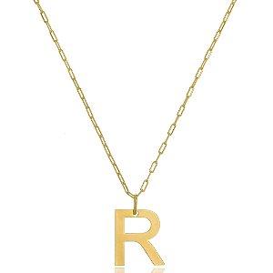Colar Elos Cartier Letra R Di Capri Semi Jóias X Ouro