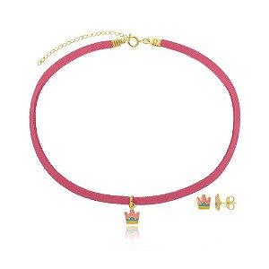 Conjunto Infantil Gargantilha e Brinco Coroa Rainbow Di Capri Semi Jóias X Ouro