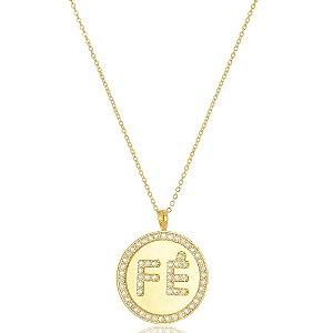 Colar Medalha Fé Di Capri Semi Jóias X Ouro