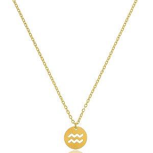 Colar Medalha Signos Aquário Di Capri Semi Jóias X Ouro