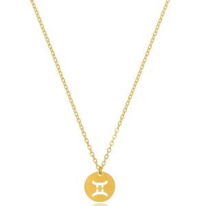 Colar Medalha Signos Peixes Di Capri Semi Jóias X Ouro