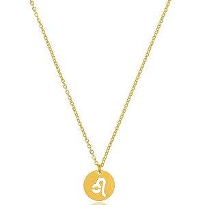 Colar Medalha Signos Leão Di Capri Semi Jóias X Ouro