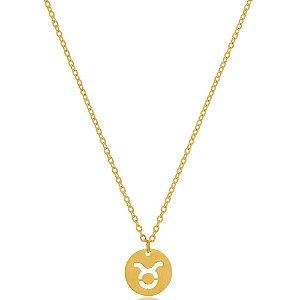 Colar Medalha Signos Touro Di Capri Semi Jóias X Ouro
