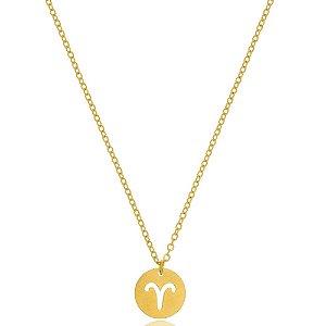 Colar Medalha Signos Áries Di Capri Semi Jóias X Ouro