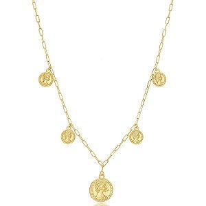 Colar Gargantilha Choker Medalhas Moedas Antigas Di Capri Semi Jóias X Ouro