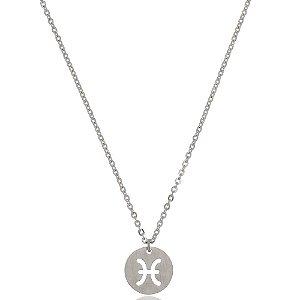 Colar Medalha Signos Gêmeos Di Capri Semi Jóias X Platina