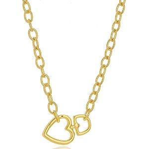 Colar Gargantilha Corrente Cadeado Elos com Mosquetão de Coração Di Capri Semi Jóias X Ouro