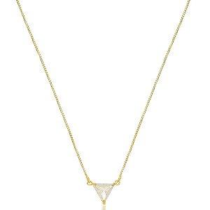 Colar Triângulo Cristal Di Capri Semi Jóias X Ouro