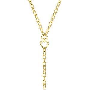 Colar Gravata Corrente Cadeado Elos com Mosquetão de Coração Di Capri Semi Jóias X Ouro