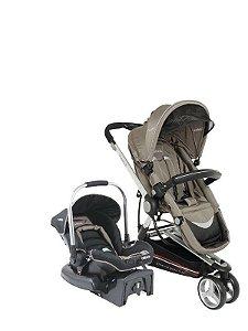 Conjunto Carrinho Compass e Bebê conforto com base Capuccino