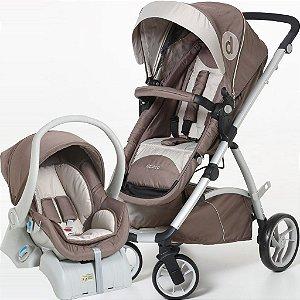Conjunto Carrinho Maly e Bebê Conforto com Base Capuccino