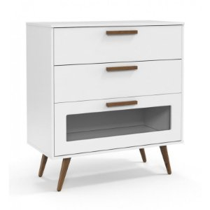 Cômoda Retro Glass Branco Soft Eco Wood - Matic