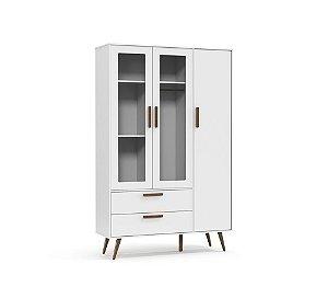 Roupeiro Retrô Glass 3 Portas Branco Soft Eco Wood - Matic Móveis