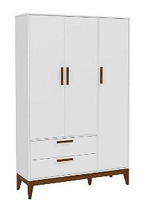 Roupeiro Nature 3 Portas Branco Soft Eco Wood - Matic Móveis