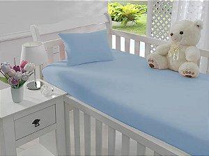 Jogo de Lençol de Berço Malha 100% Algodão Azul - Sathler Baby