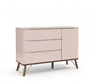 Cômoda 3 gavetas com porta Albi Rosé - Matic Móveis