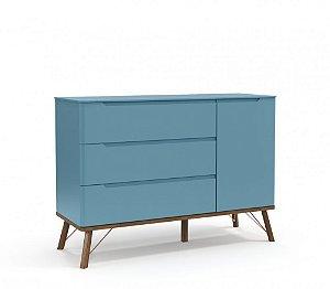 Cômoda 3 gavetas com porta Albi Azul Royal - Matic Móveis
