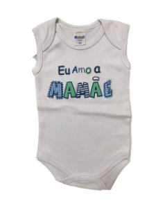 BODY EU AMO A MAMÃE REGATA AZUL - GENTE MIUDA