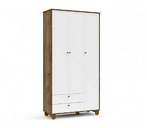 Roupeiro Zupy 3 portas Branco Soft/Teka/Eco Wood Matic Móveis