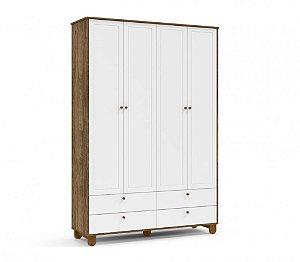 Roupeiro Zupy 4 portas Branco Soft/Teka/Eco Wood Matic Móveis