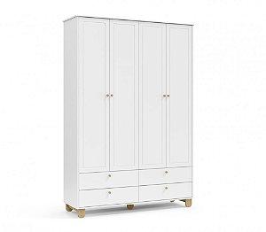 Roupeiro Zupy 4 portas Branco Soft/Natural Matic Móveis