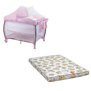 Kit Berço Desmontável Aconchego Pink + colchão nana - Burigotto