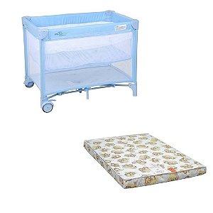 New mini berço cercado azul + colchão mini play - Burigotto