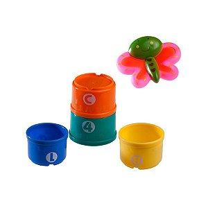 Brinquedos do Jardim e 4 Potes Coloridos no Banho borboleta - Girotondo Baby