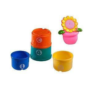 Brinquedos do Jardim e 4 Potes Coloridos no Banho Flor - Girotondo Baby