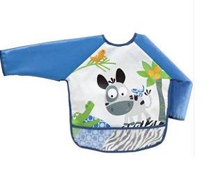 Babador Infantil Com Mangas Azul - Buba