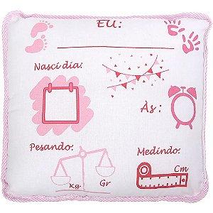 Almofadinha Preciosa com Caneta para Escrever as informações do Bebê  Feminina - Baby Joy