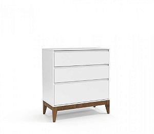 Gaveteiro Nature Clean Branco Soft com Eco Wood - Matic Móveis