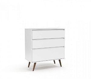 Gaveteiro Retrô Clean Branco Soft com Eco Wood
