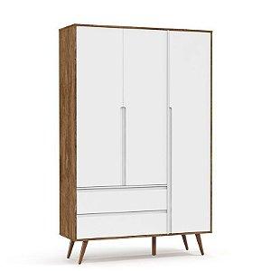 Roupeiro Retrô Clean 3 Portas Branco Soft/Teka/Eco wood - Matic Móveis