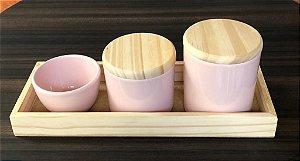 Kit Higiene Porcelana Rosa/Madeira - Porcelana Regis