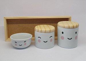Kit Higiene Porcelana Sorriso Rosa/Madeira - Porcelana Regis