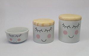 Kit Higiene Porcelana Cílios Rosa/Madeira - Porcelana Regis